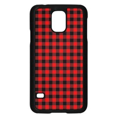 Lumberjack Plaid Fabric Pattern Red Black Samsung Galaxy S5 Case (black) by EDDArt