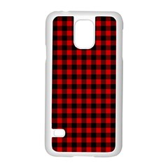 Lumberjack Plaid Fabric Pattern Red Black Samsung Galaxy S5 Case (white) by EDDArt