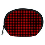 Lumberjack Plaid Fabric Pattern Red Black Accessory Pouches (Medium)  Front