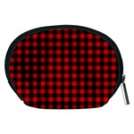 Lumberjack Plaid Fabric Pattern Red Black Accessory Pouches (Medium)  Back