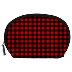 Lumberjack Plaid Fabric Pattern Red Black Accessory Pouches (large)  by EDDArt