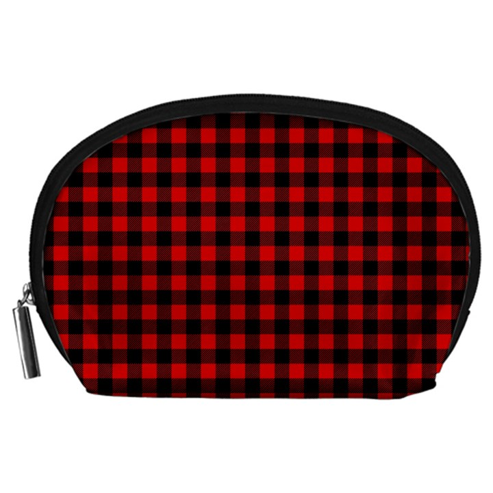 Lumberjack Plaid Fabric Pattern Red Black Accessory Pouches (Large)