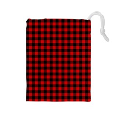Lumberjack Plaid Fabric Pattern Red Black Drawstring Pouches (large)  by EDDArt