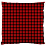 Lumberjack Plaid Fabric Pattern Red Black Standard Flano Cushion Case (Two Sides) Back
