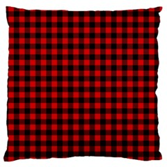 Lumberjack Plaid Fabric Pattern Red Black Large Flano Cushion Case (one Side) by EDDArt