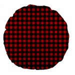 Lumberjack Plaid Fabric Pattern Red Black Large 18  Premium Flano Round Cushions Back