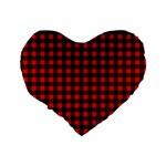 Lumberjack Plaid Fabric Pattern Red Black Standard 16  Premium Flano Heart Shape Cushions Back