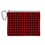 Lumberjack Plaid Fabric Pattern Red Black Canvas Cosmetic Bag (L)