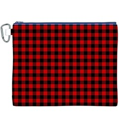 Lumberjack Plaid Fabric Pattern Red Black Canvas Cosmetic Bag (xxxl) by EDDArt