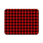 Lumberjack Plaid Fabric Pattern Red Black Double Sided Flano Blanket (Mini)  35 x27 Blanket Back