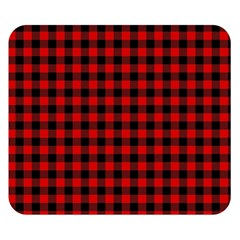 Lumberjack Plaid Fabric Pattern Red Black Double Sided Flano Blanket (small)  by EDDArt
