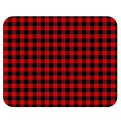 Lumberjack Plaid Fabric Pattern Red Black Double Sided Flano Blanket (medium)  by EDDArt