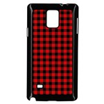 Lumberjack Plaid Fabric Pattern Red Black Samsung Galaxy Note 4 Case (Black) Front