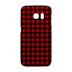 Lumberjack Plaid Fabric Pattern Red Black Galaxy S6 Edge