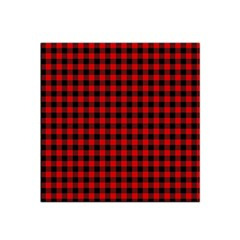 Lumberjack Plaid Fabric Pattern Red Black Satin Bandana Scarf