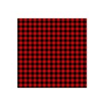 Lumberjack Plaid Fabric Pattern Red Black Satin Bandana Scarf Front