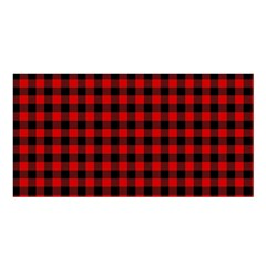 Lumberjack Plaid Fabric Pattern Red Black Satin Shawl by EDDArt