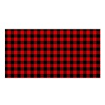 Lumberjack Plaid Fabric Pattern Red Black Satin Shawl Front
