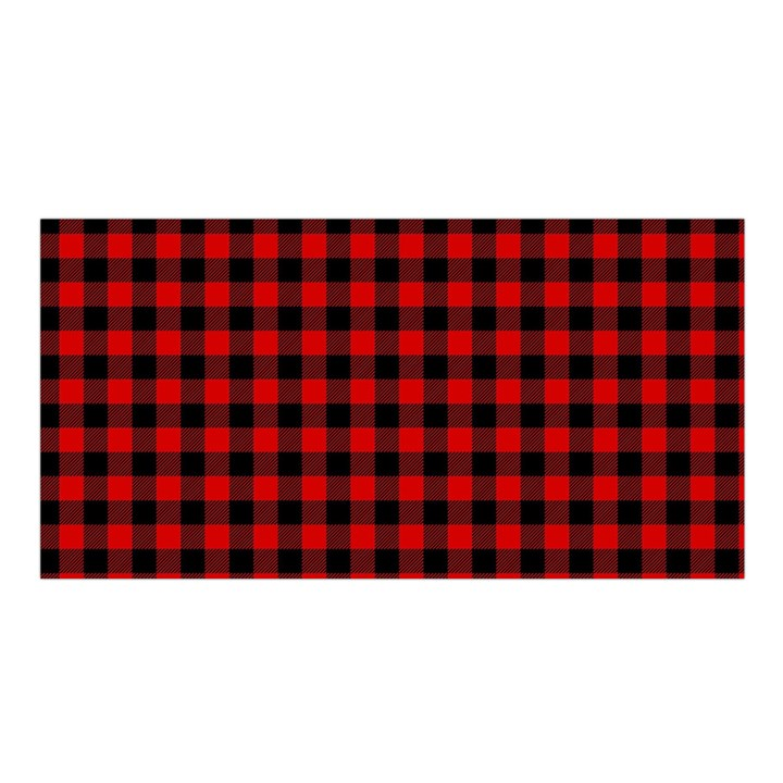 Lumberjack Plaid Fabric Pattern Red Black Satin Shawl
