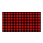 Lumberjack Plaid Fabric Pattern Red Black Satin Wrap Front