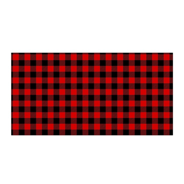 Lumberjack Plaid Fabric Pattern Red Black Satin Wrap