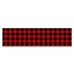 Lumberjack Plaid Fabric Pattern Red Black Satin Scarf (oblong)