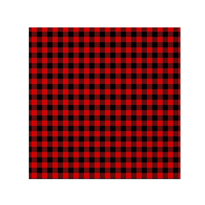 Lumberjack Plaid Fabric Pattern Red Black Small Satin Scarf (Square)