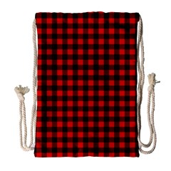 Lumberjack Plaid Fabric Pattern Red Black Drawstring Bag (large) by EDDArt