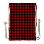 Lumberjack Plaid Fabric Pattern Red Black Drawstring Bag (Large) Front