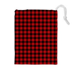 Lumberjack Plaid Fabric Pattern Red Black Drawstring Pouches (extra Large) by EDDArt