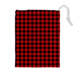 Lumberjack Plaid Fabric Pattern Red Black Drawstring Pouches (Extra Large)