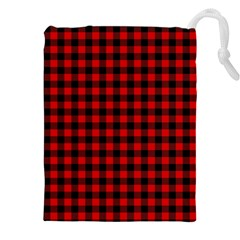 Lumberjack Plaid Fabric Pattern Red Black Drawstring Pouches (xxl) by EDDArt