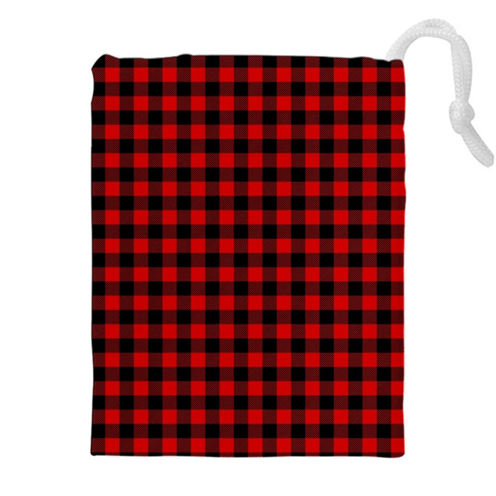 Lumberjack Plaid Fabric Pattern Red Black Drawstring Pouches (XXL)