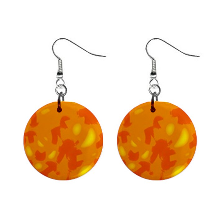 Orange decor Mini Button Earrings