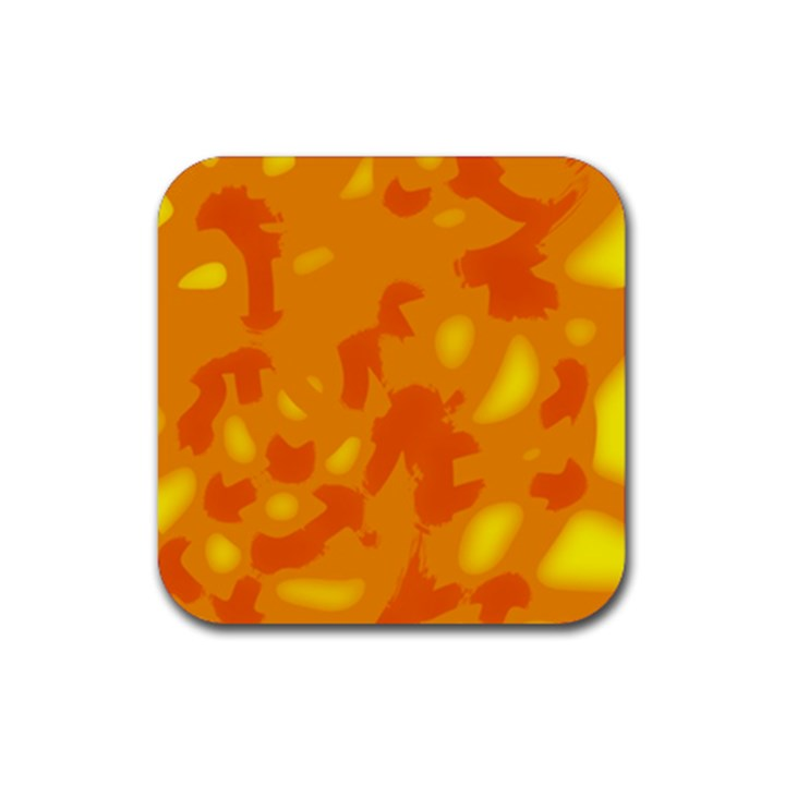 Orange decor Rubber Square Coaster (4 pack)