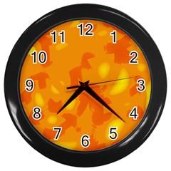 Orange decor Wall Clocks (Black)