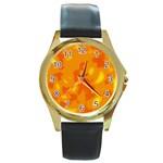 Orange decor Round Gold Metal Watch Front