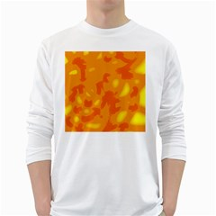 Orange Decor White Long Sleeve T Shirts