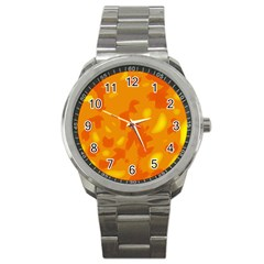 Orange Decor Sport Metal Watch by Valentinaart