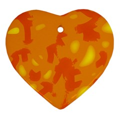 Orange Decor Heart Ornament (2 Sides) by Valentinaart