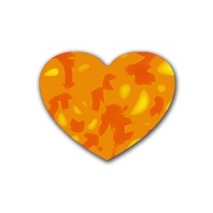 Orange Decor Heart Coaster (4 Pack)  by Valentinaart