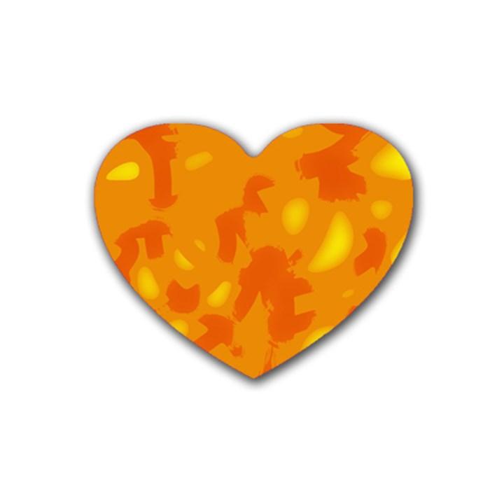 Orange decor Heart Coaster (4 pack)