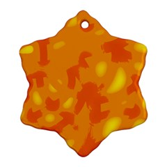 Orange Decor Snowflake Ornament (2 Side) by Valentinaart