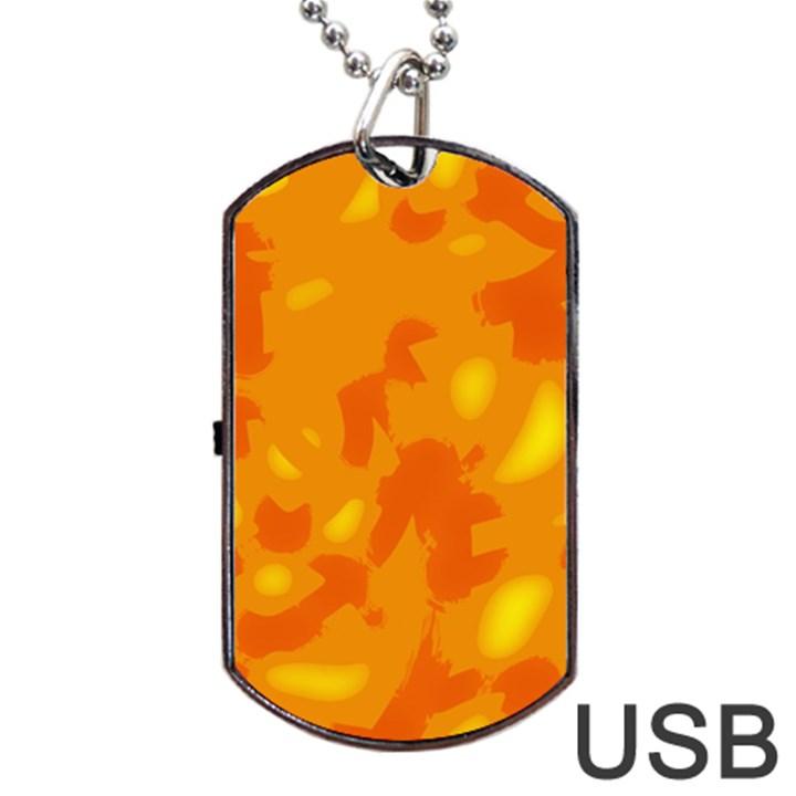 Orange decor Dog Tag USB Flash (Two Sides)