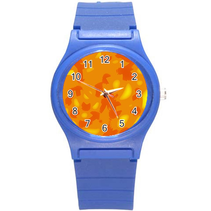 Orange decor Round Plastic Sport Watch (S)