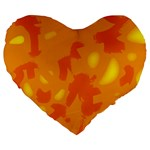 Orange decor Large 19  Premium Flano Heart Shape Cushions Front