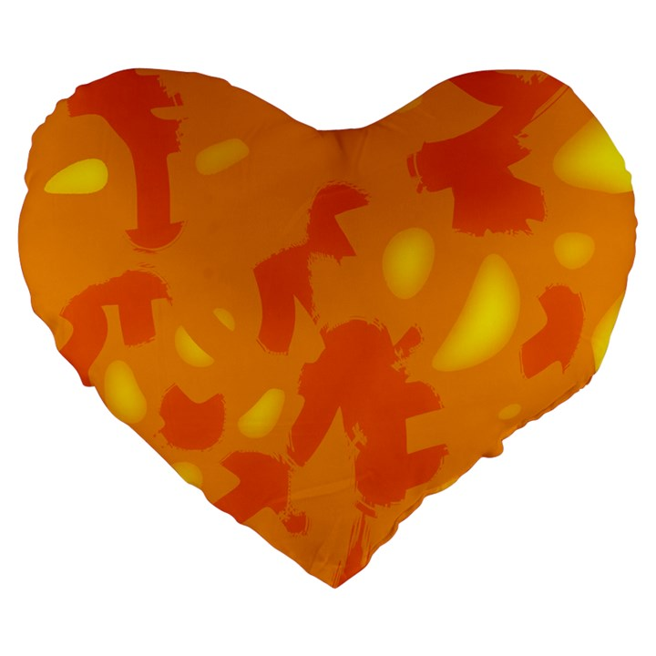 Orange decor Large 19  Premium Flano Heart Shape Cushions