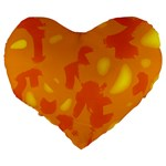Orange decor Large 19  Premium Flano Heart Shape Cushions Back