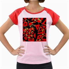 Red Artistic Design Women s Cap Sleeve T Shirt