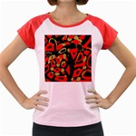 Red artistic design Women s Cap Sleeve T-Shirt Front